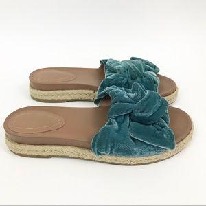Zara 38 Espadrille Slide Sandals Velvet teal blue